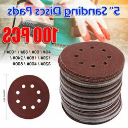 100Pcs 5 in Orbital Sandpaper Sanding Discs Hook Loop 40 - 8