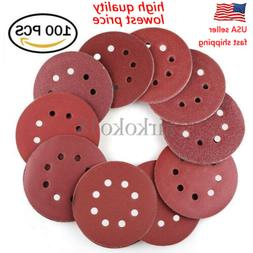 100PCS 5 inch 8 Hole Hook and Loop Round Sandpaper Discs San