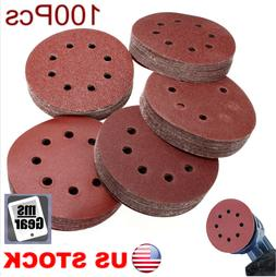 100pcs 5 Inch 8 Holes Hook And Loop Sand Papers 60-240 Grit