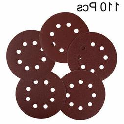 110pcs 5 Inch 8 Hole Hook and Loop Sanding Discs 40 60 80 12