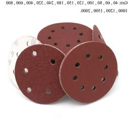 125mm Sanding Discs 8 Hole Hook & Loop Sandpaper Orbital San