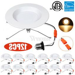 12PCS 5/6 Inch LED Recessed Downlight Smooth Trim Dimmable C