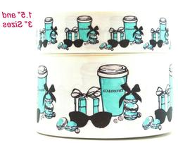 """3"""" AND 1.5"""" GROSGRAIN BREAKFAST AT TIFFANY'S 3"""" INCH PRINTED"""