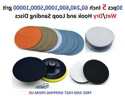 30pcs 5 Inch 60,240,600,1000,5000,10000 grit Wet/Dry Hook an