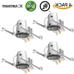 "Four Bros Lighting 4 Pack - 4"" inch New Construction LED Can"
