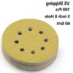 100pcs 5'' inch 60 Grit Hook and Loop Sanding Sandpaper Sand