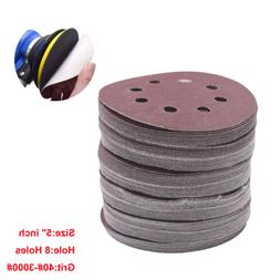 "5"" inch 8 Holes Grit Sand Disc Paper Random Orbit Hook and L"