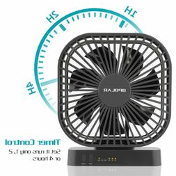 5 Inch Desk Fan with Timer, USB or AA Battery Operated, 3 Sp