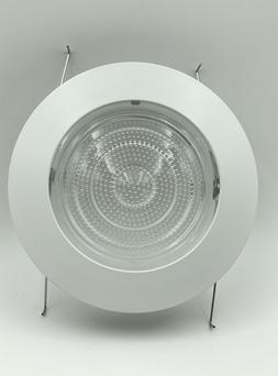 "5"" INCH RECESSED CAN LIGHT  SHOWER TRIM GLASS CLEAR LENS WHI"
