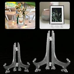 5 Pack Clear display easel Stand Plate Photo Frame Pedestal