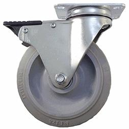 """5"""" Total Lock Swivel Plate Caster for Rubbermaid Carts, Non-"""