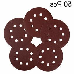 50pcs 5 Inch 8 Hole Hook and Loop Sanding Discs 60 80 100 12