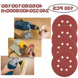 100 Pcs 5 in Orbital Sandpaper Sanding Discs Hook Loop 40 -