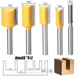 5pcs 1/4 Inch Shank Straight Dado Router Bits Set For Woodwo