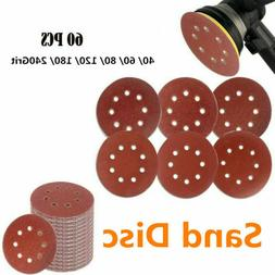 60pcs 5 Hook and Loop Grid Sandpaper 8 Hole Grit Sanding Dis