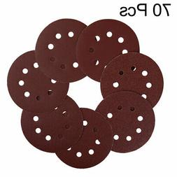 70pcs 5 Inch 8 Hole Hook and Loop Sanding Discs 40 60 80 120