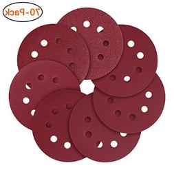 5-Inch 8-Hole Hook and Loop Sanding Discs, 40/80/120/240/320