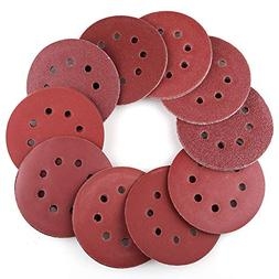 5 Inch 8-Hole Sanding Discs by LotFancy - 100PCS 40 60 80 10