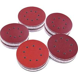 AUSTOR 100 Pieces 8 Holes Sanding Discs, 5 Inch Hook and Loo