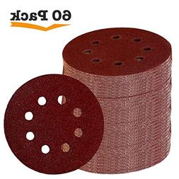 Fadetech 60 Pieces 8 Holes 5 Inch Sanding Discs Hook and Loo