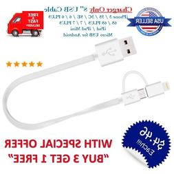 """8"""" inch Short 2-in-1 USB Charger Cable for iPhone 7/6/5/8/X"""
