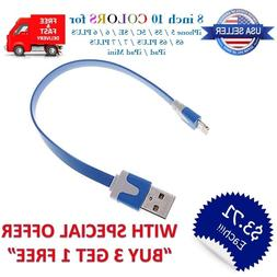 """8"""" inch Short Flat USB Cable 8 pin for iPhone 8/6/5/7/X Char"""
