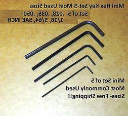 NEW- 5 Piece SAE inch Mini HEX L-Key Set - Precision Micro S