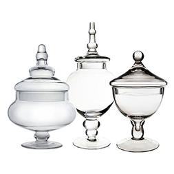 CYS EXCEL Candy Jar, Glass Apothecary Jar, Set of 3, Candy B