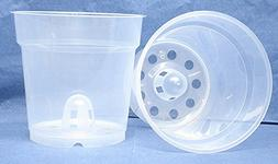 "Clear Plastic Pot for Orchids 5"" Diameter - Made in Germany"