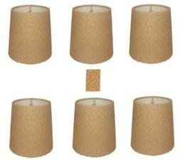 Upgradelights Natural Cork Chandelier Lamp Shade, Set of Six