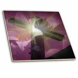3dRose ct_42952_5 Christian Cross and Lily-Glass Tile, 4-Inc