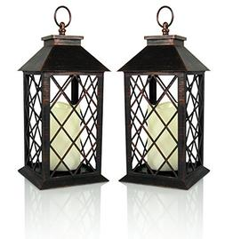 Banberry Designs Decorative Lantern - Antiqued Bronze Candle