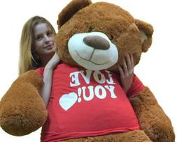 Big Plush 5 Foot Giant Teddy Bear Wearing I LOVE YOU T-shirt