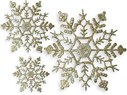BANBERRY DESIGNS Gold Snowflake Ornaments - Set of 72 Assort