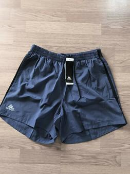 ADIDAS INDIGO/BLACK OWN THE RUN 5 INCH SHORTS SIZE SMALL