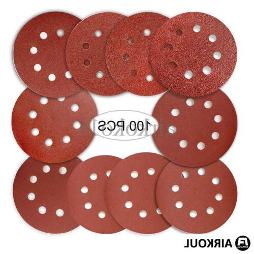 100PCS inch 8 Hole Round Sandpaper Discs Sheets US