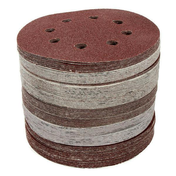 100pcs 5 Holes Hook And Sand Papers Grit Orbital Sanding Disc