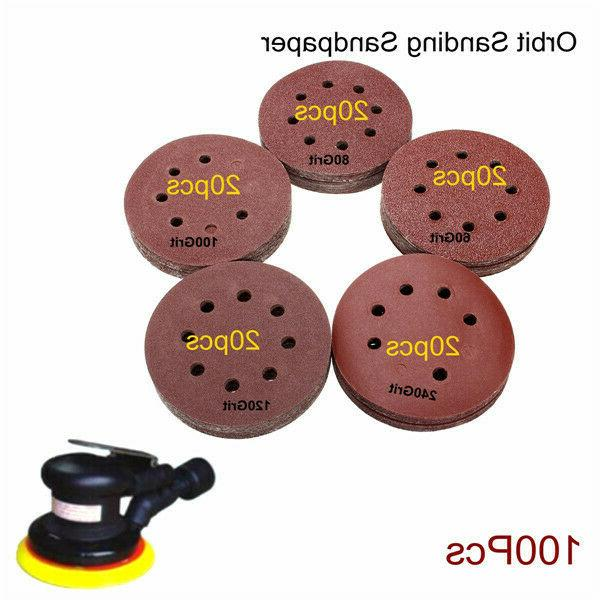 100pcs Inch 8 Holes Sand Papers 60-240 Orbital Disc