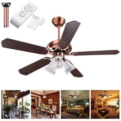 """48"""" 5 Blades Ceiling Fan with Light Kit Downrod Copper Rever"""