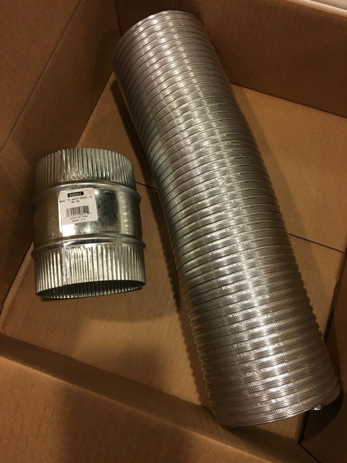 "5"" x 6' semi rigid aluminum flex duct with 5 inch connec"