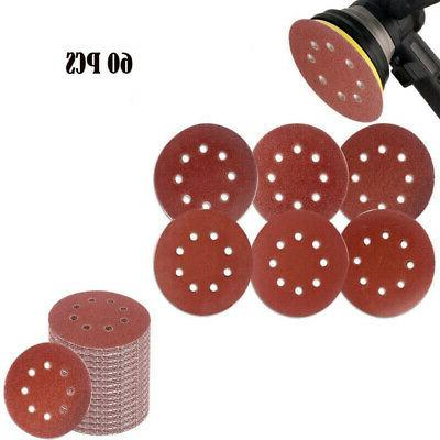 60pcs 5-inch Hook Loop Grid Hole Sanding Pads