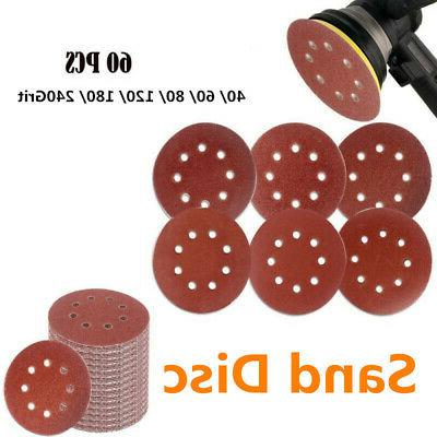 60pcs Hook and Loop Sandpaper Hole Grit Sanding Pads 40-240