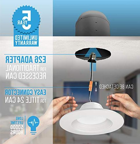 Parmida 5/6 inch LED Downlight, Baffle Lighting, Trim, 3000K