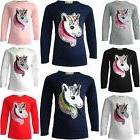 GIRLS EMOJI EMOTICONS UNICORN FACE TEE TOPS BRUSH CHANGING S