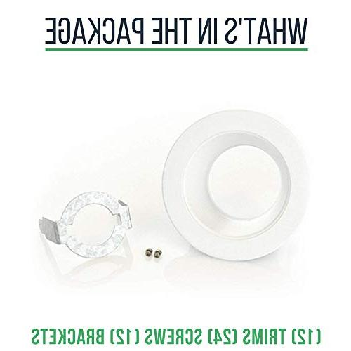 """4"""" LED Trim, Cover, for 4 Recessed Ceiling Can, PAR20 and R20 White, 12 Pack"""
