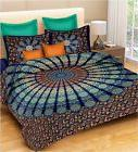 Indian Peacock Mandala King Size Cotton Bed Sheet with Pillo