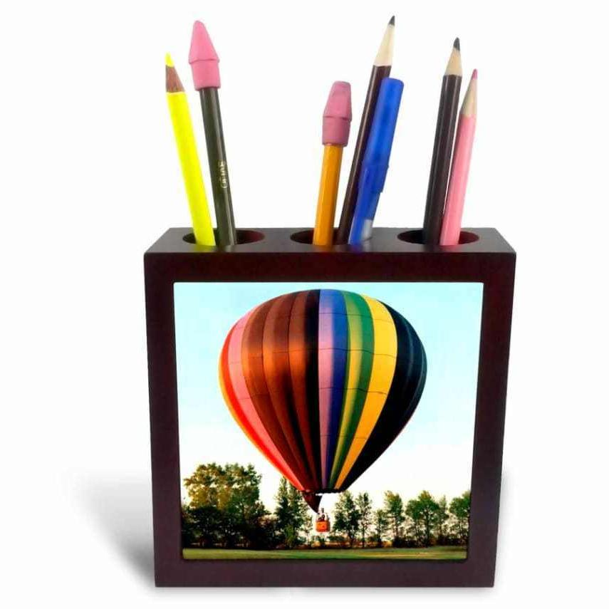3dRose ph_1154_1 Hot Air Balloon-Tile Pen Holder, 5-Inch