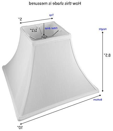 """American 5""""x 8.5"""" Square Lampshade, Shantung, Off-white"""