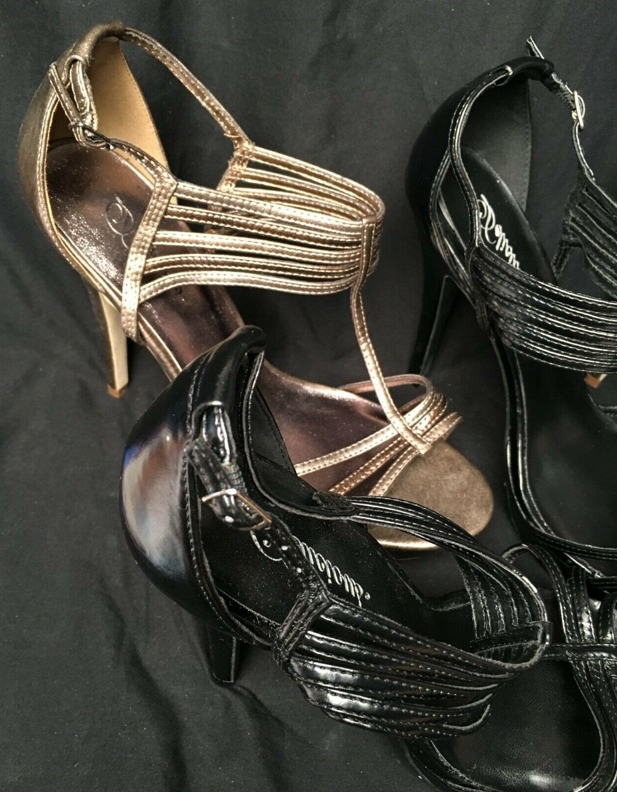 Two Bronze Strappy Stiletto Heels