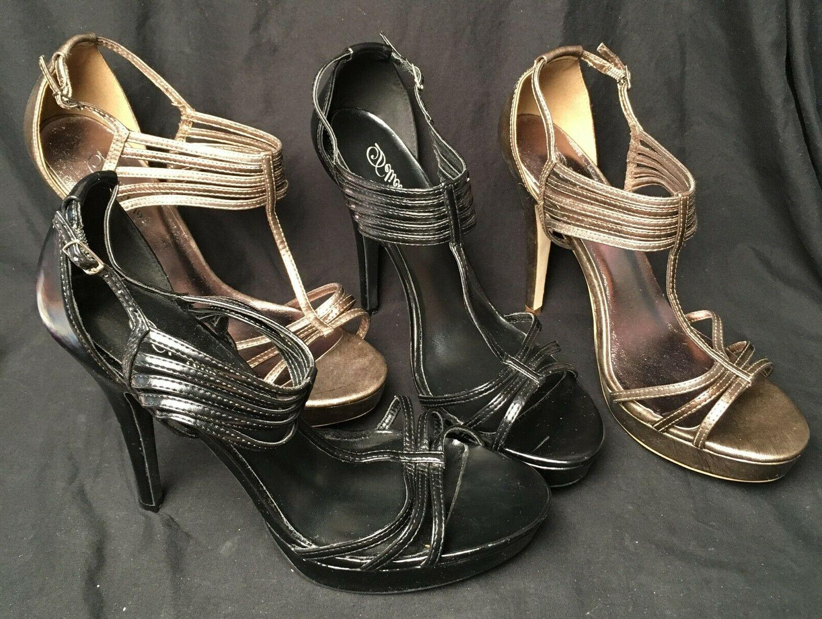 two pair black bronze strappy 5 inch